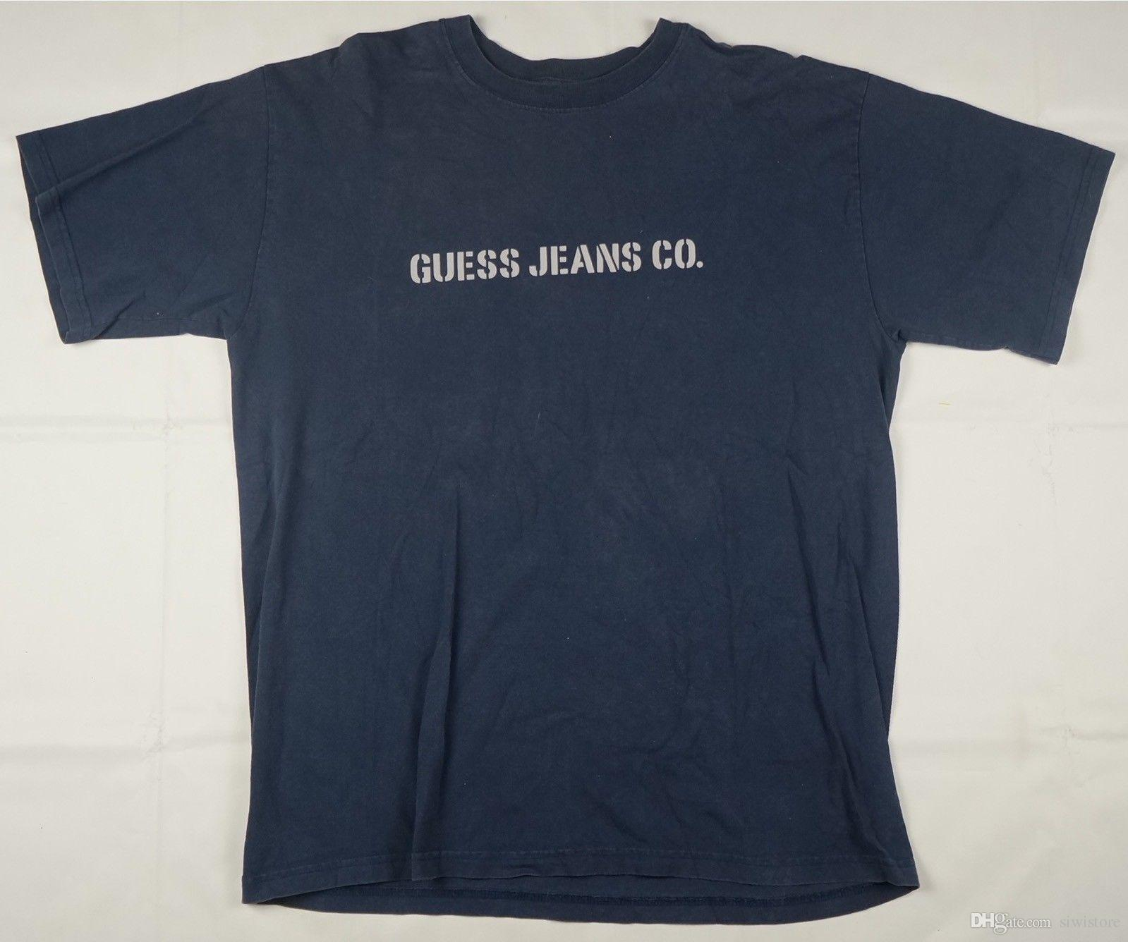 a5f1274f82d88 Rare Vintage GUESS Jeans Co. Spell Out T Shirt 90s Marciano USA Navy Blue  SZ XL Make Tee Shirts T Shirts Print From Siwistore, &Price;| DHgate.Com