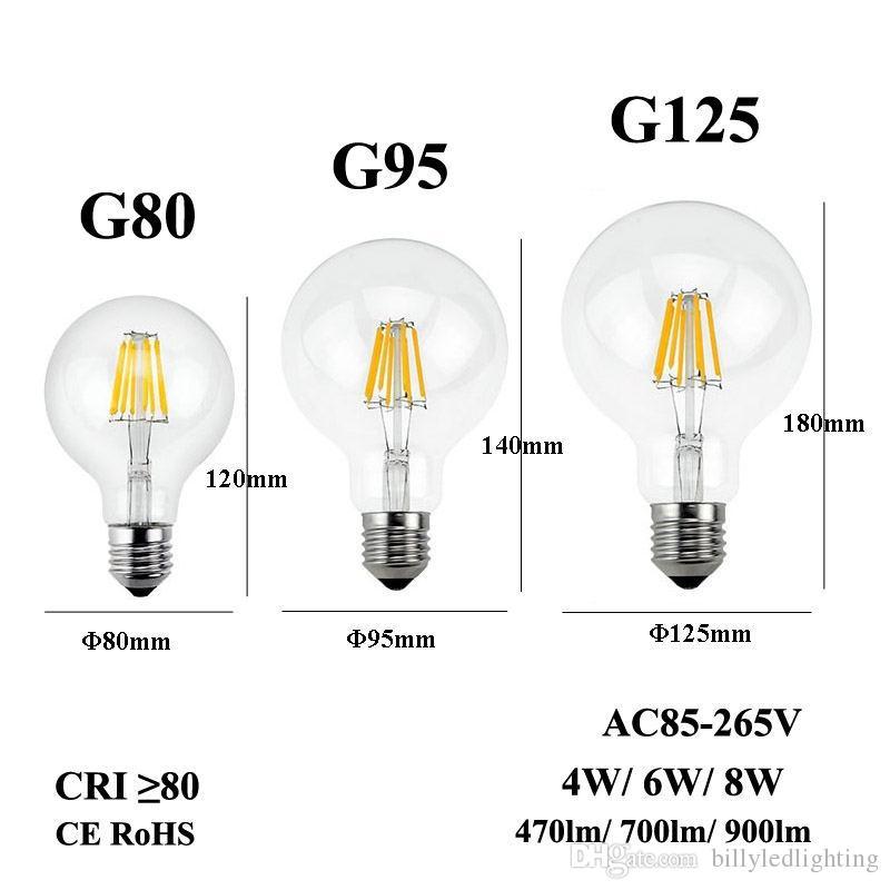 low priced 9c0cf 807ae E26 E27 LED Filament Bulb 110/220/240V Edison Candle Light G80 G95 G125  Clear Glass Lamp For Retro Pendant Chandelier Fixture Led Candelabra Bulbs  60w ...