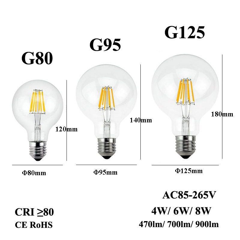 E26 E27 LED Filament Ampul 110/220/240 V Edison Mum Işık G80 G95 G125 Retro Kolye Avize Armatürü için G125 Temizle Cam Lambası