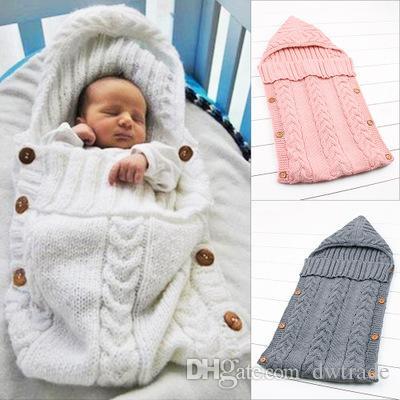 Newborn младенца зимняя осень сплошной цвет спальный мешок хлопок теплый одеяло обертка младенца милая кнопка питомник постельное белье спальный мешок