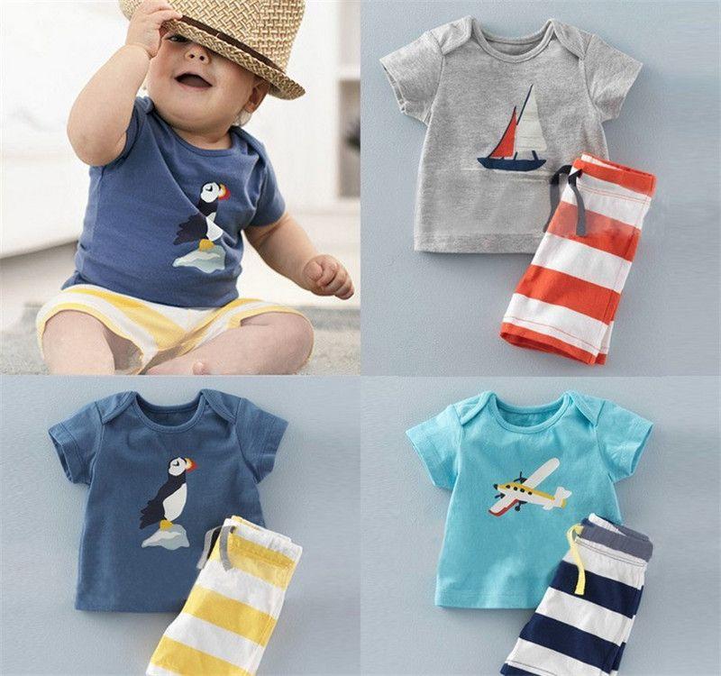 Kleinkind Baby Kinder Jungen Freizeit Kleidung Outfits Kurzarm Top Hose Set
