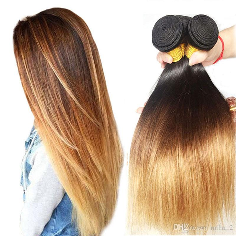 Brazilian Straight Hair Bundles T1B/4/27 Ombre Human Hair Weaves 3 Pieces 8-30 Inch 3 Tone Non Remy Hair Extensions Free Shipping