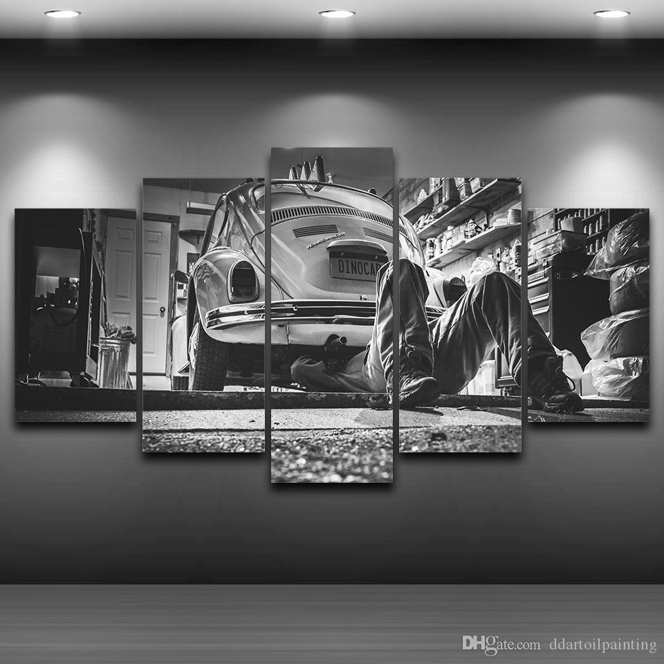 Old Car Picture for Vintage Home Decoration Large 5Panels Giclee Canvas Prints Painting (No Frame)