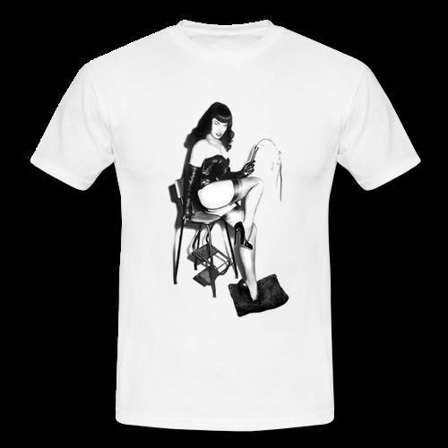 Bettie Page Fetish Bondage Whip Chair Kinky White Mens Retro Vintage T-shirt TeeShirt Cotton Hight Quality Man T Shirt