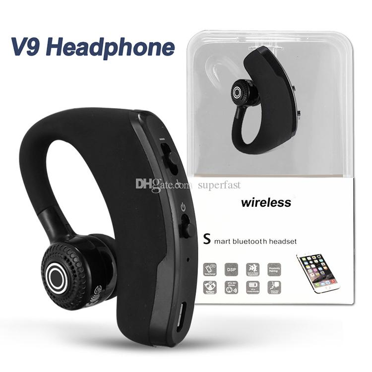 V9 Bluetooth Headphone Wireless Earphone Headset Drive Earbud With Mic Noise Cancelling For Driver Sport Business In Box Bluetooth Headsets Bluetooth Earphones From Superfast 6 37 Dhgate Com
