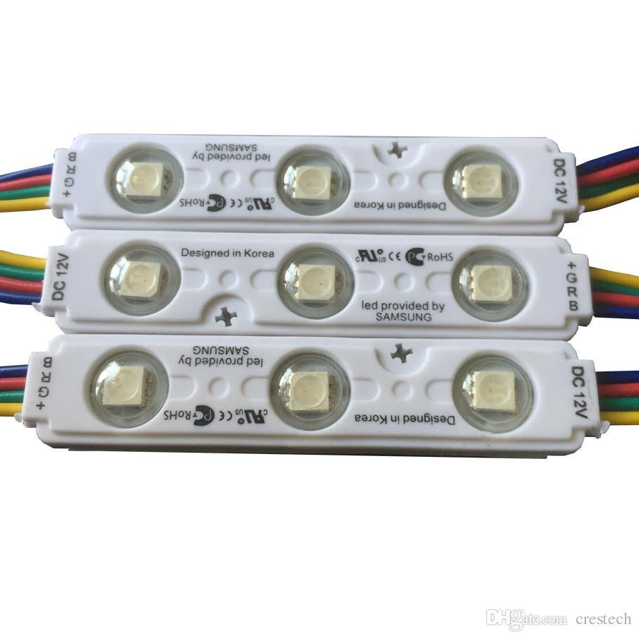 IP68 RGB LED وحدات الأنوار DC12V 3 قطع SMD5050 LED وحدات حقن الإضاءة بكسل ماء الخلفية ل channer إلكتروني