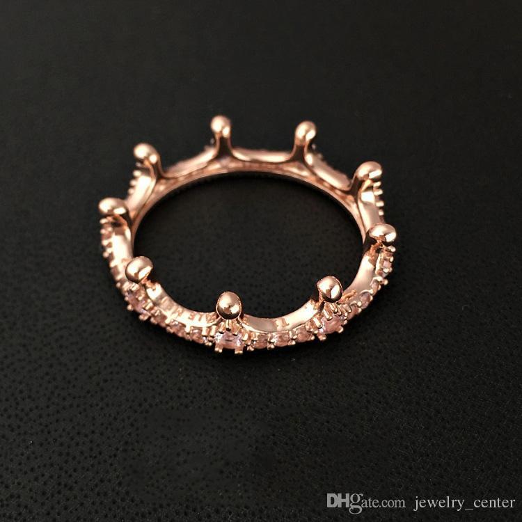 브랜드 뉴 18K 로즈 골드는 여성을위한 판도라 925 스털링 실버 보석 반지를위한 CZ 다이아몬드 원래 선물 상자 크라운 링 도금