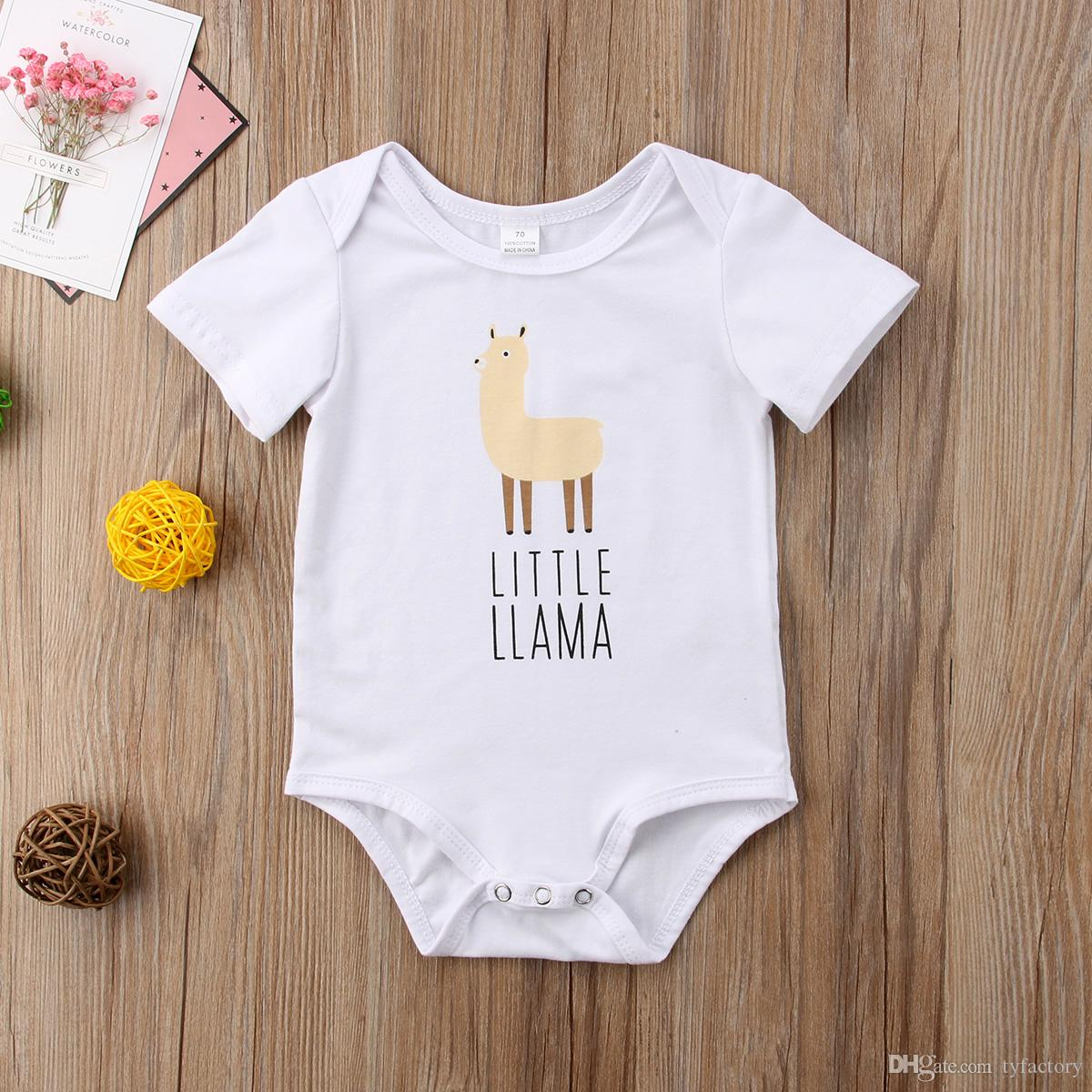 Unisex Baby Short Sleeve Bodysuit No Prob-Llama Infant Romper Jumpsuit