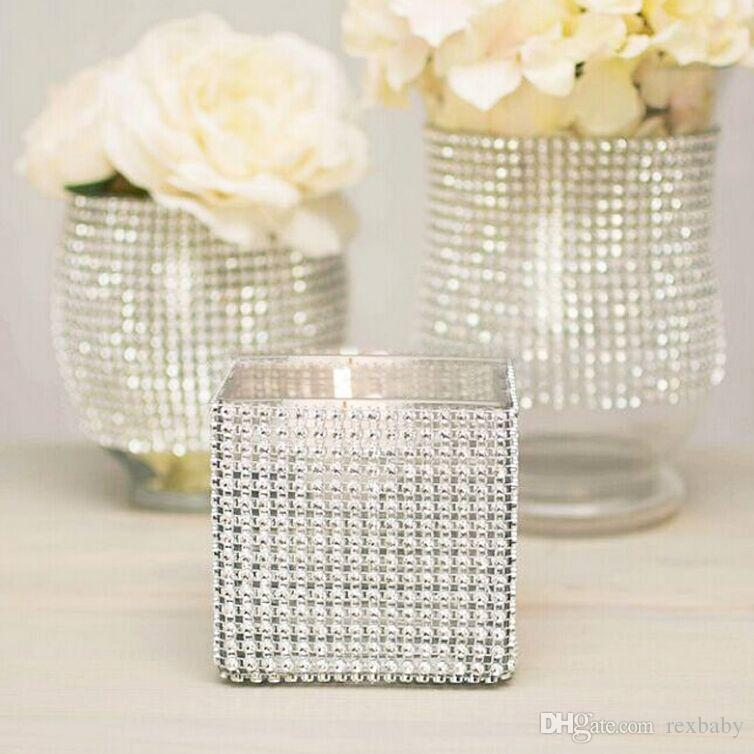 "4.75"" 24 Rows Diamond Mesh Rhinestone Ribbon Crystal trim Wrap sparkle bling ribbon Wedding Decoration Party Decor"