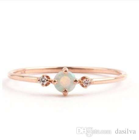 Small Stone Fire Opal Thin Rainbow Rings For Women Rose Gold Cubic Zircon Birthstone Rhinestone Simple Rings anel Jewelry Z5