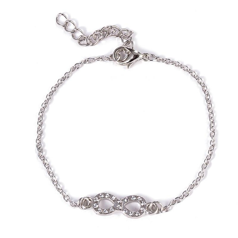 Newest Fashion Silver Chain Bracelets Infinity Charms Bracelet for Women Luxury Crystal Friendship Girls Jewelry Accessories Lady Gifts