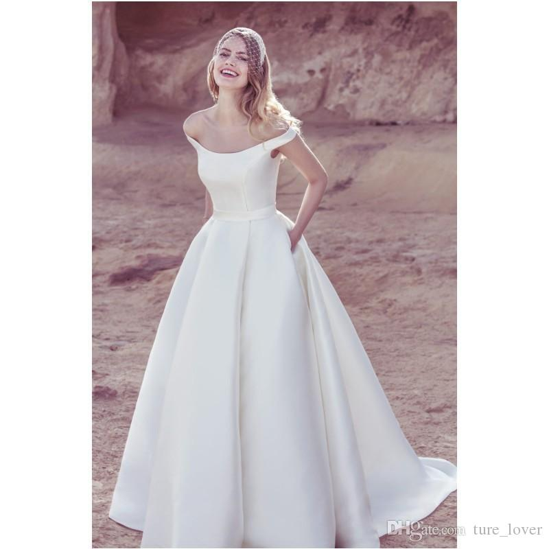 Discount 2019 Popular Simple Charming A Line Off Shoulder Wedding Dresses Country Satin Bridal Gown Court Train Bridal Dresses Vintage Bridal Gowns