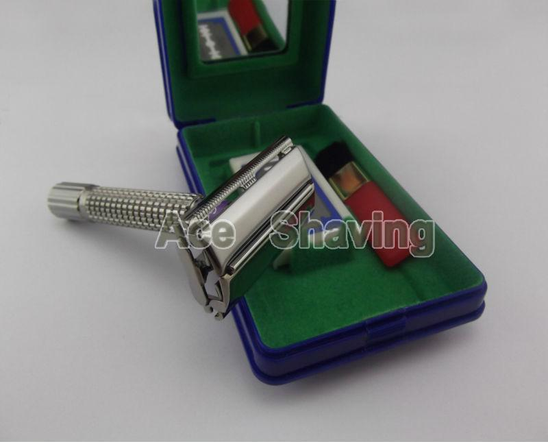 Double Edge Blade Safety Shaving Razor Pearl Black Color Metal Handle Butterfly Head Shaver Free Shipping
