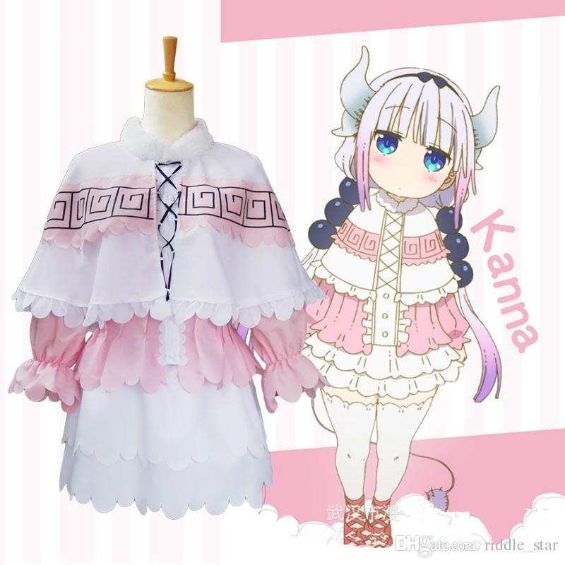 Asya Boyutu Japonya Anime Kobayashi-san Chi Hayır Maid Ejderha Kanna Cosplay Kostüm Pembe Kawaii Parti Üniformaları Elbise Tam Set