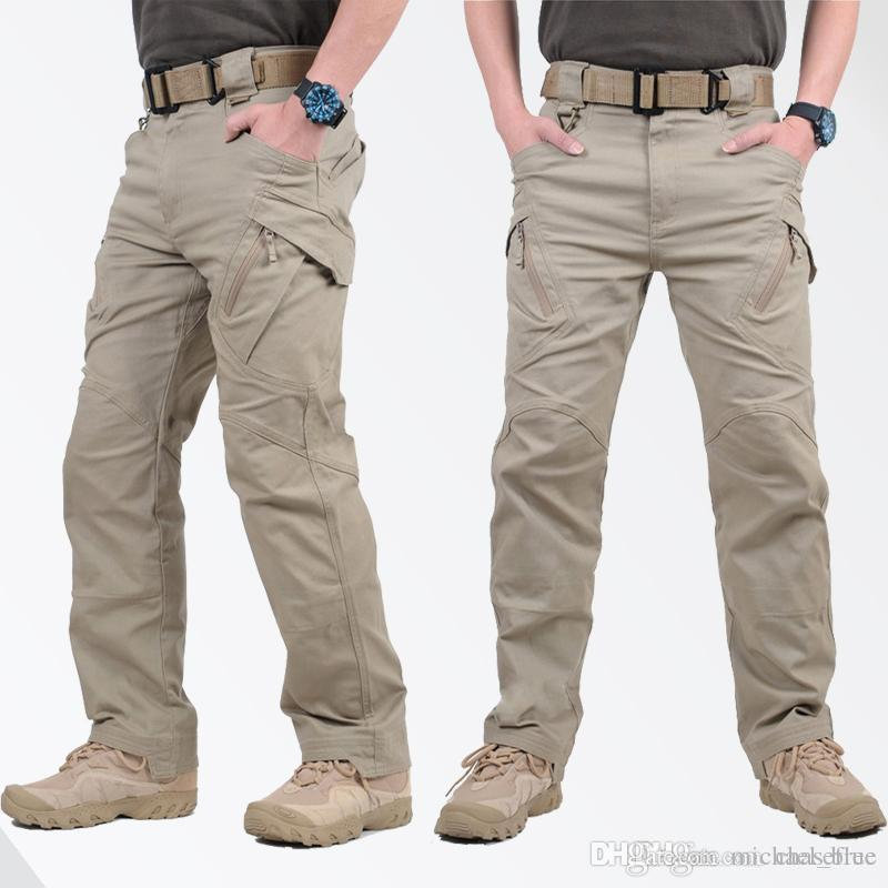 Homme Cargo à Ceinture Fermeture Éclair Up Multi Poches Pantalon de combat Trois Quart Shorts