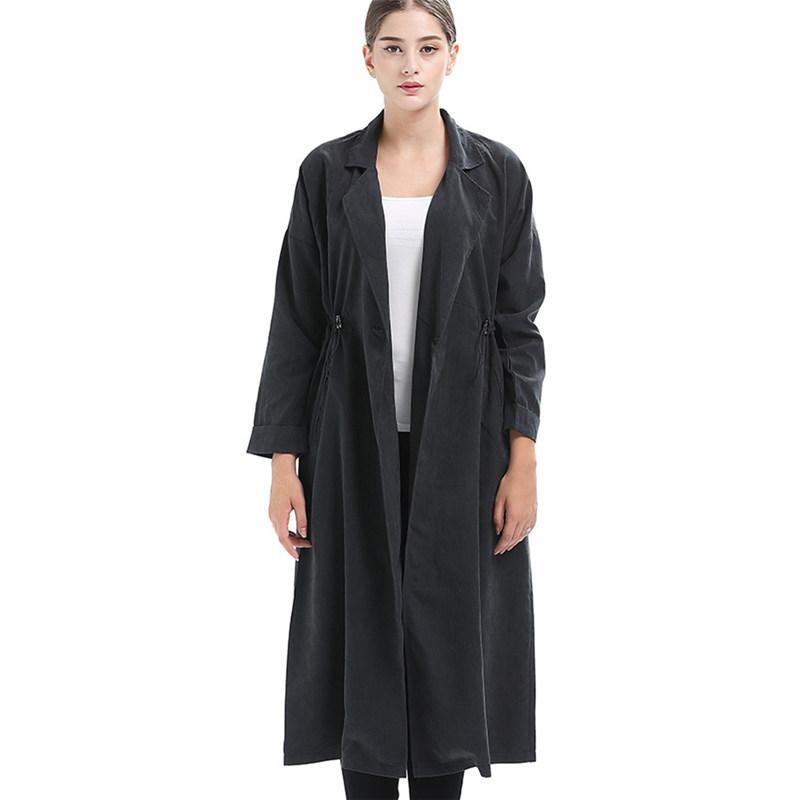 Women Trench Length Fashion Stitching A Buckle 2018 Autumn Retro Temperament Straight Portable Windproof Windbreaker Coat