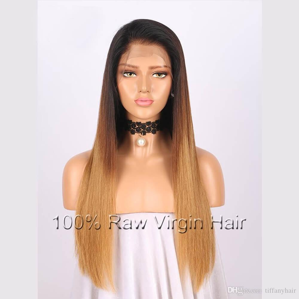 Кружева передние парики полный парики шнурка бразильский Реми волос 1bt8t27 ломбер цвет прямая свободная часть предварительно сорвал естественный Волосяный Покров 8 дюймов-26 дюймов