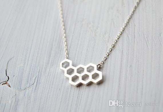 10pcs Geometric Honey Comb Bee Hive Necklace Cute Hexagon Honeycomb Chain Clavicle Necklace Jewelry Accessory Present