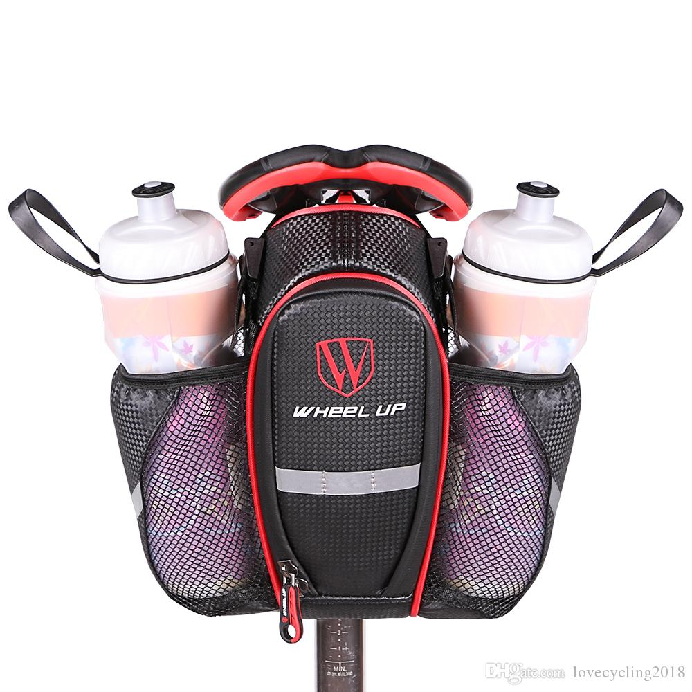 2 Pockets Bike Bag Nylon Waterproof Bicycle Saddle Bag MTB Road Bike Seat Tail Pouch Bottle Bag Bicycle Accessories