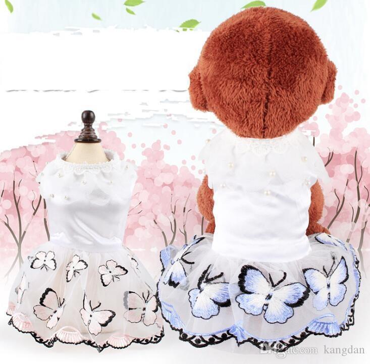 Roupas de moda para cães decoração de casamento festival trajes de cães de estimação saia de borboleta bonito sonho para Teddy poodle novo estilo vestido de princesa
