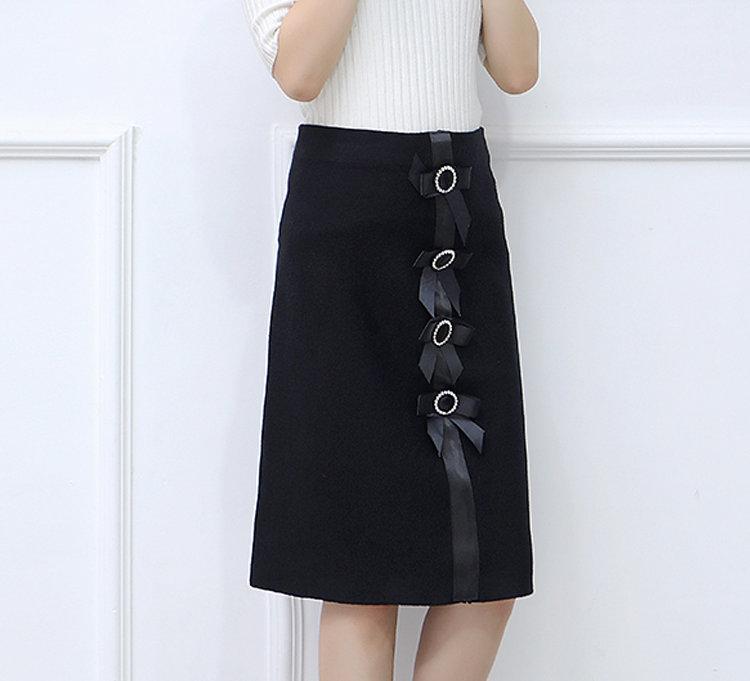 New 2019 Skirt Autumn Elegant Office Skirts Women High Waist Faldas Mujer Casual Black Skirt Chic Bow Saia Femme Invierno (6)