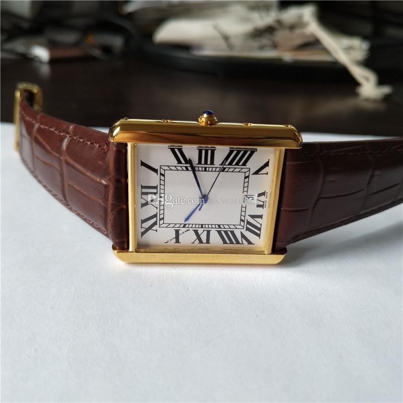 뜨거운 판매 새로운 남성 시계 골드 케이스 화이트 다이얼 브라운 가죽 스트랩 시계 쿼츠 시계 048 무료 배송