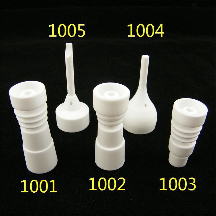 Hot 14mm 18mm Bezpoziomowe ceramiczne paznokcie z męskimi szklanymi szklanymi stawów ceramicznych Dogal VS Glass Pipe Gr2 Titanium Paznokci Regulowany Męski lub Kobieta