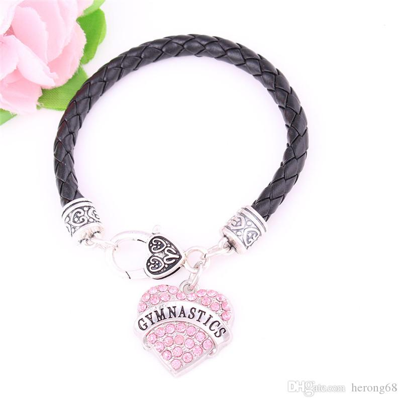 Fashion Women Bracelet GYMNASTICS Written Sporty Style Word With Pink Crystals Gift For Friend Zinc Alloy Provide Dropshipping