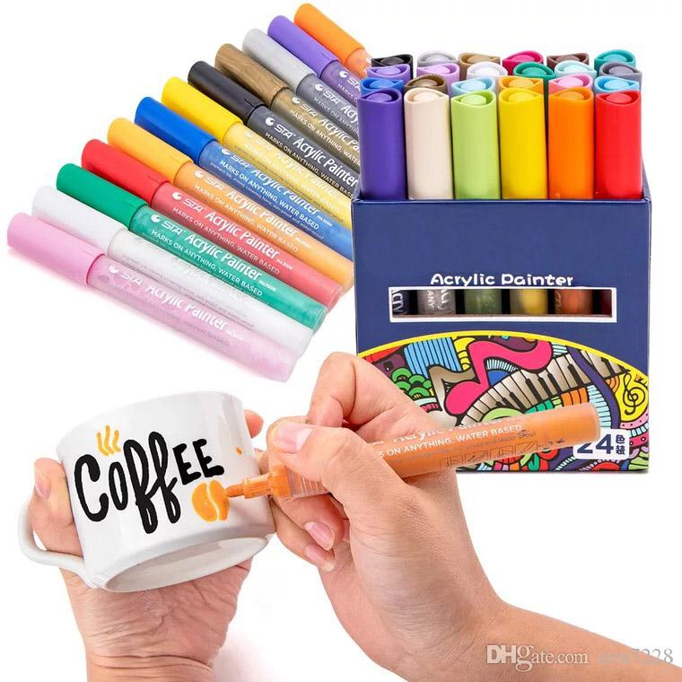 12/24 couleurs acrylique peinture marqueur marqueur esquisse papeterie ensemble pour bricolage manga dessin marqueur stylo école étudiant peintre fournitures