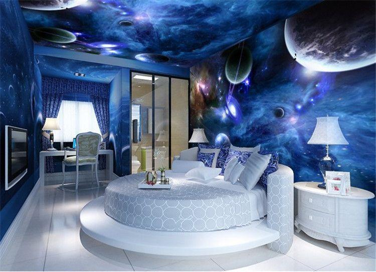 벽지 3D 벽화 거실에 대 한 스타 플래닛 우주 공간 행성 벽지 벽화 사진 벽 종이