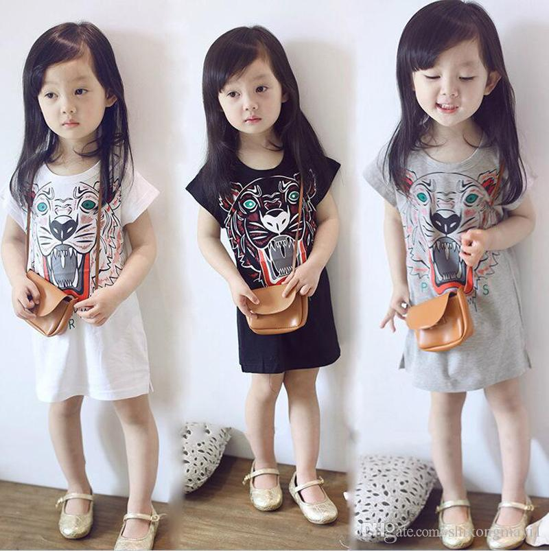 Kids Girls Cotton Short Sleeve Tshirt Tiger Print Print Kids Clothes T-shirt Children Casual Tee Tops T Shirts Good Quality