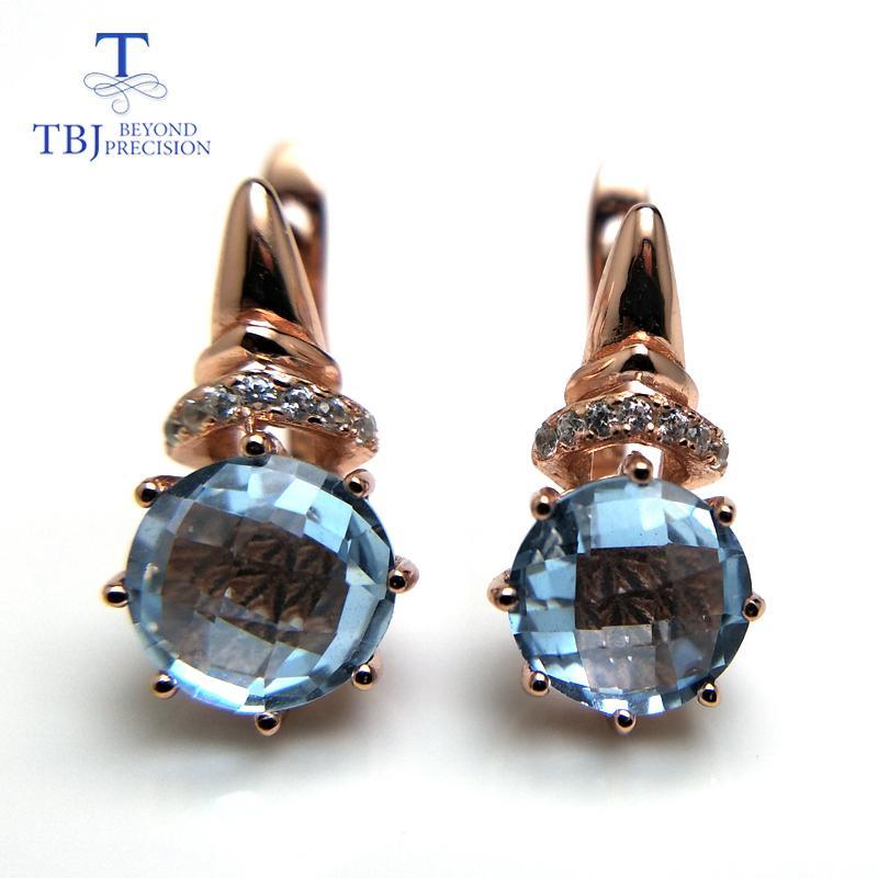 TBJ, 2018 nouvelle coupe de damier topaze bleue ciel bleu ronde 8mm 4.6 boucle d'oreille fermoir pierre précieuse en argent sterling 925 or rose Y18110110
