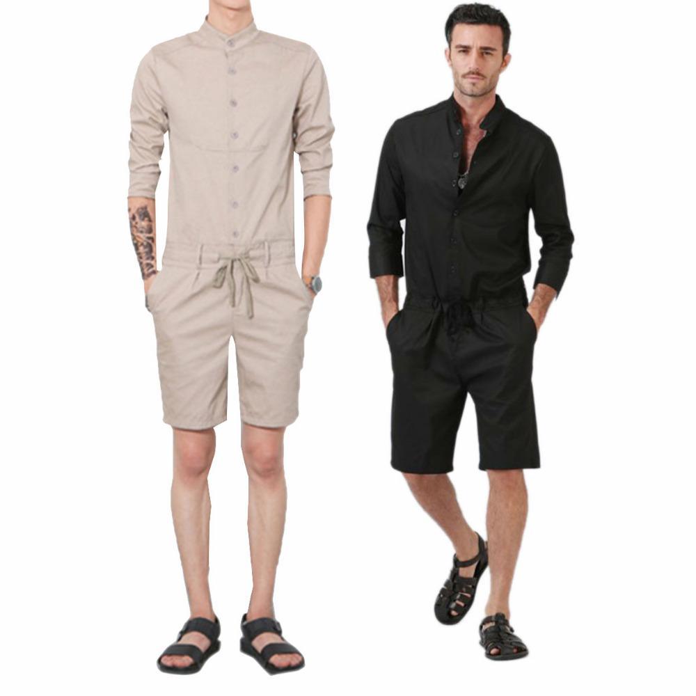 Combinaisons décontractées pour homme manches longues de mode mince pantalon court pantalon barboteuses salopette pour hommes col montant