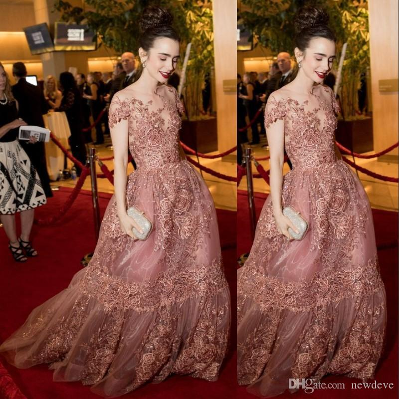 lace sheer lace red carpet dresses