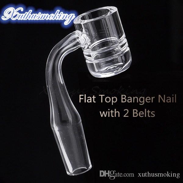 Extra gruesa completa de 4 mm Flat Top cuarzo Banger clavo con 2 correas de 10mm 14mm 18mm Domeless cuarzo Banger clavo de DHL 684