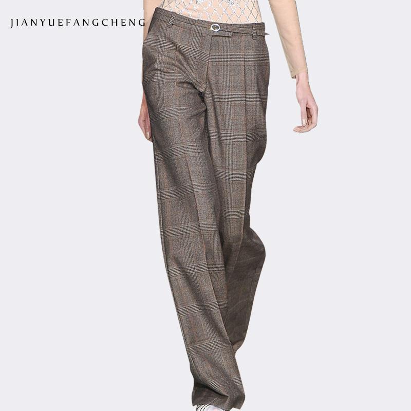 Pantalon Pantaloni invernali a gamba larga da donna a vita alta Pantaloni in lana da donna taglia lunga Pantaloni a vita bassa con cerniera allentata