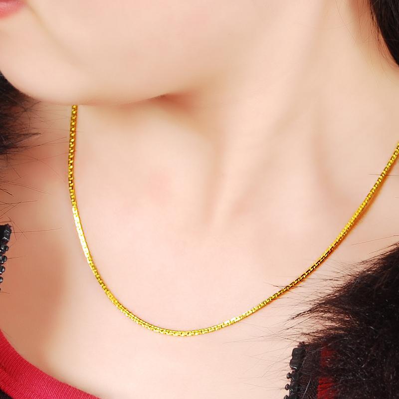 الجملة أزياء 24K GP النساء قلادة مجوهرات لون الذهب الخالص 3MM القلائد سلسلة الأفعى العظام للنساء 45CM