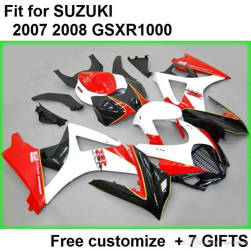 7 Gifts Fooding Kit dla Suzuki GSXR1000 07 08 Czerwone czarne białe wróżki Zestaw GSXR1000 2007 2007 VL56