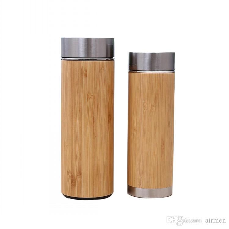 Nouveau Bambou Bouteille D'eau Isolée sous vide en acier inoxydable tasse avec couvercle Passoire À Thé En Bois Tasses Droites Mugs Créatifs DHL FEDEX