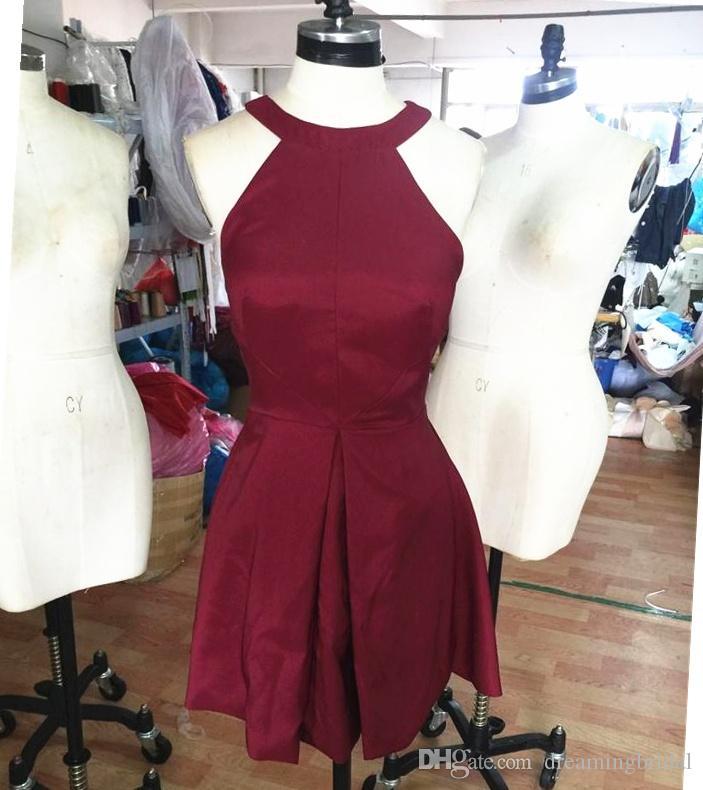 Реальные фото простой бордовый Холтер короткие платья выпускного вечера без рукавов вечерние платья для платья 2017 новый младший одетый коктейльные платья