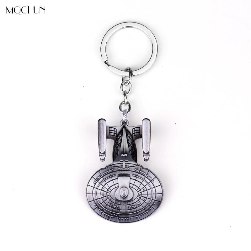 MQCHUN Star Trek Anahtarlıklar Uzay Aracı Kolye Anahtarlıklar Retro Film takı anahtarlık Charms Anahtarlık Erkekler Cosplay Parti Hediye