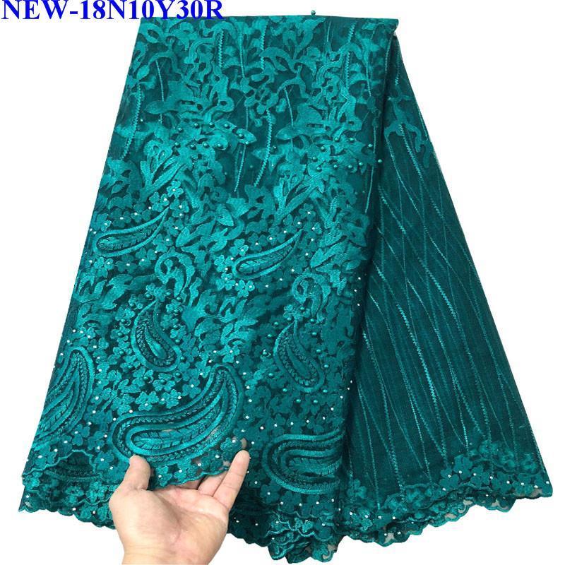 2018 Ultime Nigerian Laces Tessuti di alta qualità africano lacci tessuto per abito da sposa francese tulle pizzo con perline GV4521
