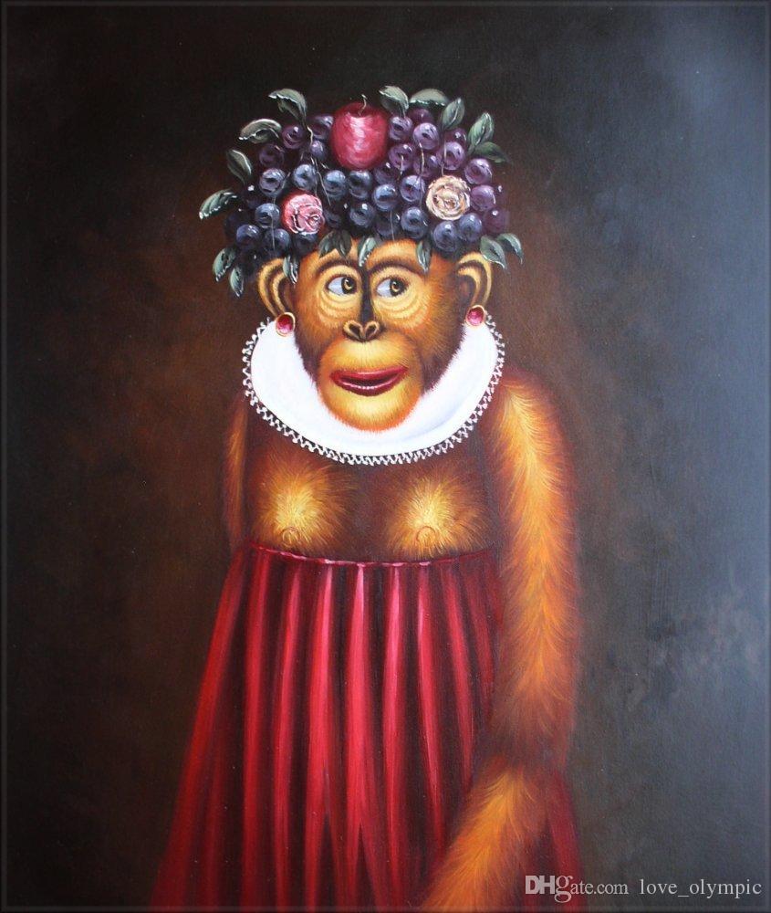"""Много оптом""""прекрасная обезьяна """", подлинная ручная роспись стены декор искусства животных масляной живописи на холсте нескольких размеров, Rsh01#"""