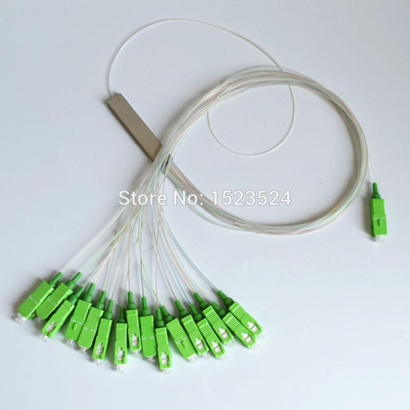 10pcs SM 1*16 Optical Fiber Splitter 0.9mm Bare Fiber Steel Tube Fiber Bundle