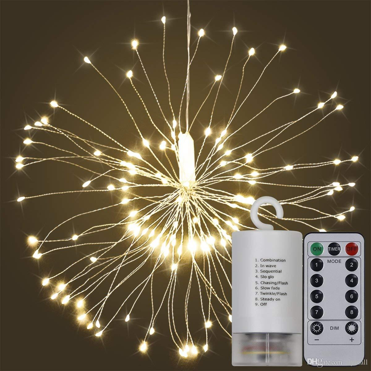 50pcs 150LED Battery Powered 8 Modes Copper Wire String Light Firework LED Starburst Lights with Remote Control for Home/Garden Decoration