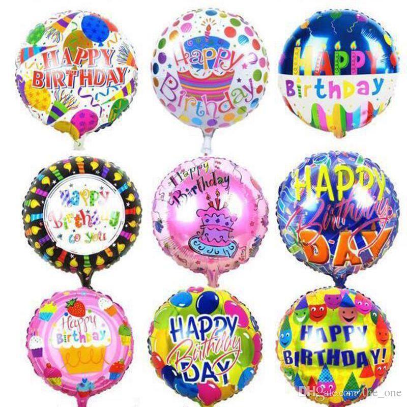 50pcs / lot 18 pulgadas feliz cumpleaños globos de revestimiento de aluminio globos para niños decoración del partido regalos juguetes