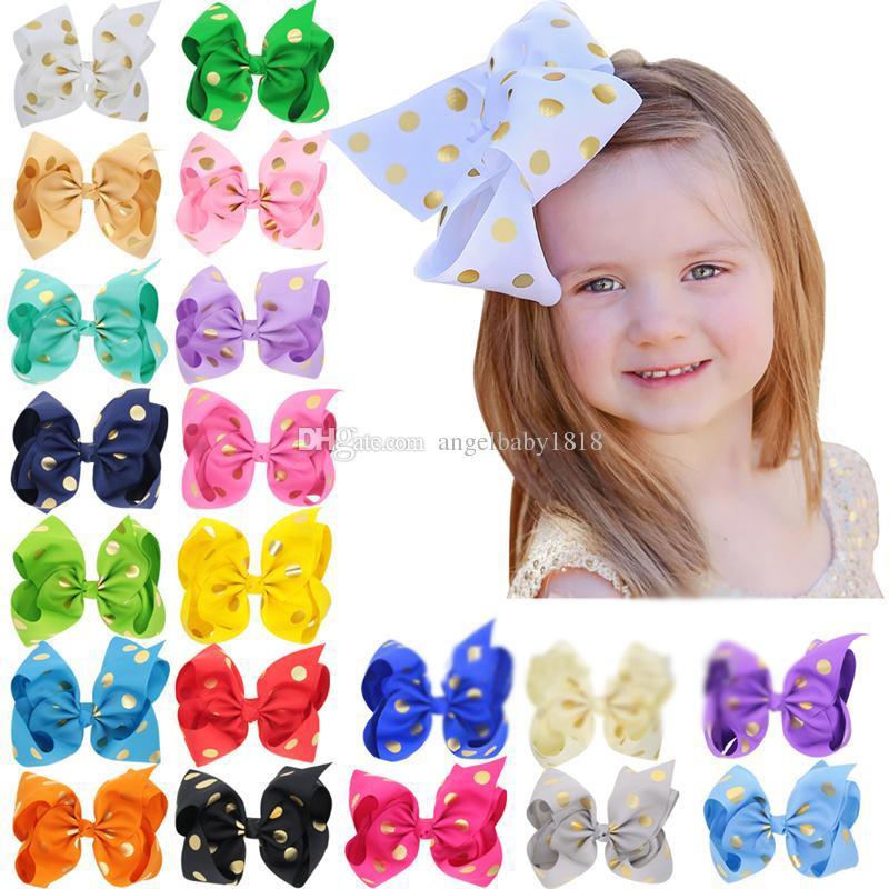 20 Colores 8Inch bebé de la cinta horquilla arco Sello Dot Clips niñas grande del Bowknot Barrette del pelo de los niños Boutique niños Accesorios para el cabello