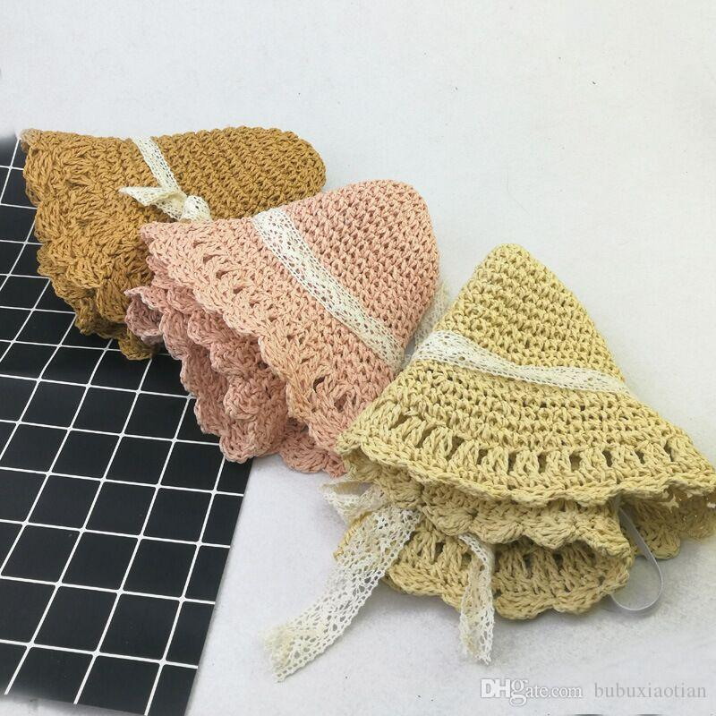 2018 Brand New And Fashion South Korean Children's Lace Straw Hat Girls Hook Sunshade Girls Beach Hats