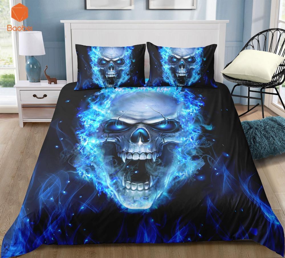 3Pcs Blue flame Skull Starry sky Bedding Set Pillowcases Duvet Cover Quilt Cover For Kids Queen King Sizes Bedspreads Sj234
