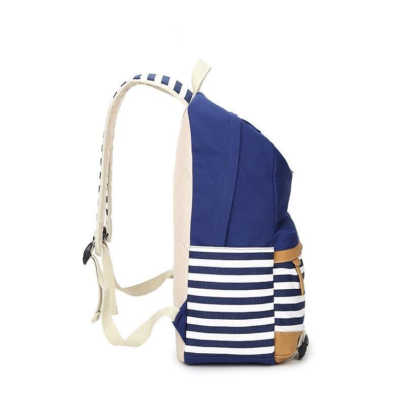Ganador de la marca College Striped Women Backpack Daily Book Bags Fringe Bagpack 15.6 pulgadas Computer Student Bag para adolescentes niñas